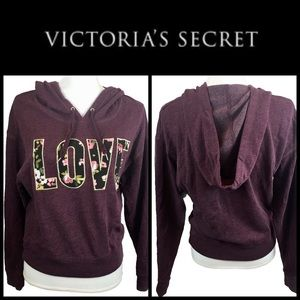 "Victoria's Secret Plum Pullover ""LOVE"" Hoodie Sz M"